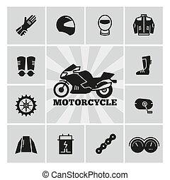moto, zubehörteil, motorrad, accessoirs, silhouette, heiligenbilder, satz