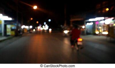 motobike., mouvement brouillé, bokeh, rue, nuit vidéo, thaï