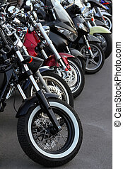 Motobikes in a row.