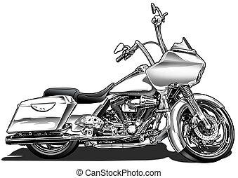 motocicleta, bagger, costumbre