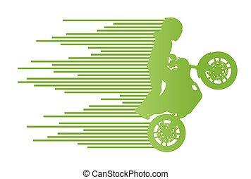 motocicleta, cavaleiro, vetorial, fundo, truque, stunt,...