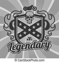 motocicleta, clube, remendo, vetorial, desenho, motocicleta, emblem.