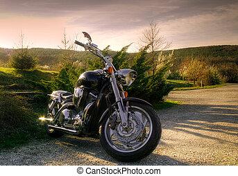 motocicleta, en, naturaleza