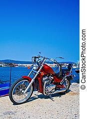 motocicleta, estacionado, helicóptero, aire libre