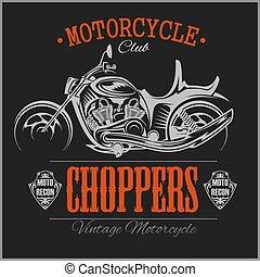 motocicleta, helicóptero, logo., vector, vendimia, garaje,...