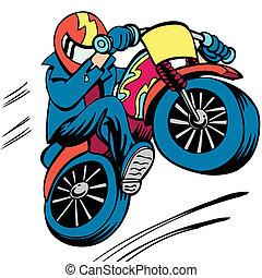 motocicleta, hombre