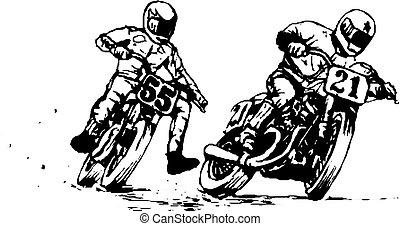 motocicleta, jinetes