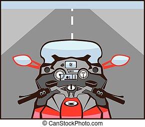 motocicleta, jinetes, vista, color, camino