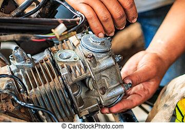 motocicleta, mecánico, técnico