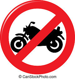motocicleta, proibição, sinal