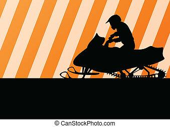 motocicleta, silueta, cavaleiro, ilustração, snowmobile