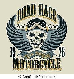 motocicleta, t-shirt, desenho, vetorial, ilustração