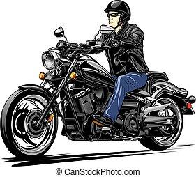 motocicleta, v-twin, cavaleiro