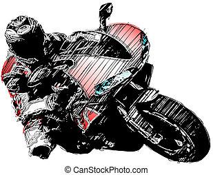 motocicleta, vermelho