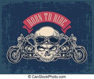 motocicleta, vista lateral, y, cráneo, con, glasses.