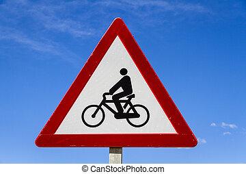 motocicleta, y, bicicleta, señal