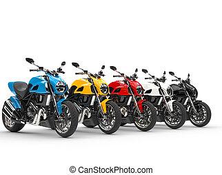 motocicletas, -, aislado, deportes, plano de fondo, blanco, fila