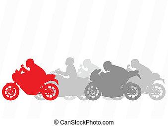 motocicletas, colección, siluetas, vector, ilustración, ...