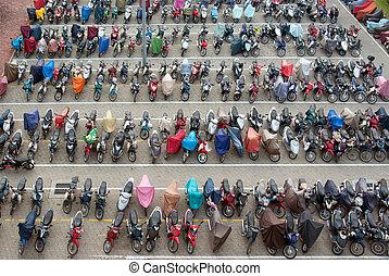 motocicletas, mas, lote, estacionamento, pássaro, enchido,...