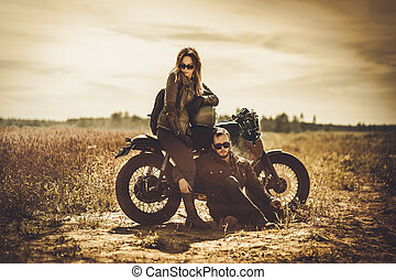 motocicletas, vendimia, pareja, costumbre, campo, corredor, ...