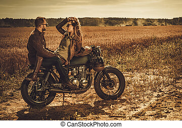 motocicletas, vendimia, pareja, costumbre, corredor, field.,...