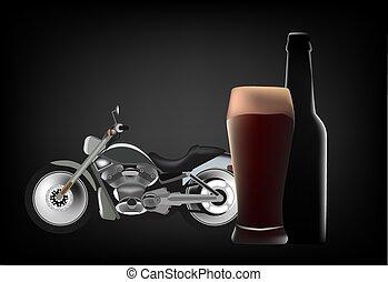 motocicletta, birra, scuro