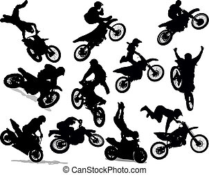 motocicletta, prodezza, silhouette, set