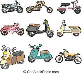motocicletta, scarabocchiare, elemento