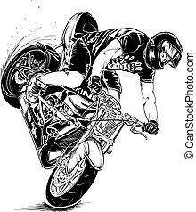 motocicletta, uomo prodezza