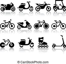 motociclette, e, bicycles, set, di, nero, icone