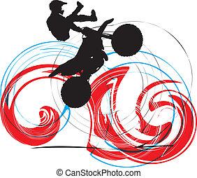 motociclista, astratto, schizzo