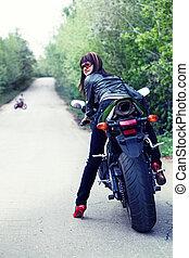 motociclista, carino