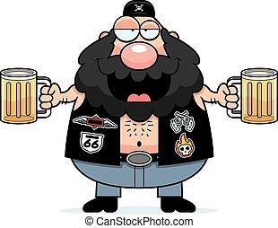 motociclista, cartone animato, ubriaco