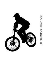 motociclista de montaña, silueta