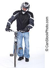 motociclista, molto, cauto