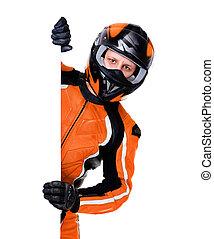 motociclista, vertical, equipamento, segurando, em branco, laranja