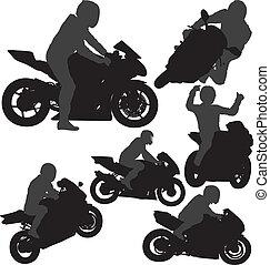 motociclista, vettore, silhouette