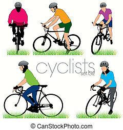 motociclisti, silhouette, set