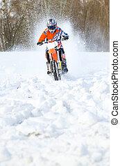 motocross, モーターバイク, 雪, 海原, 前部, ライダー, 光景