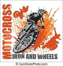motocross, 運動, -, grunge, 海報