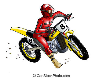 Motocross - Airbrushed illustration of a man on motocross,...