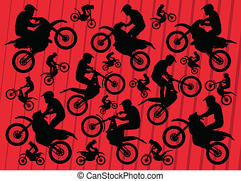 Motocross and trial motorbikes riders illustration...