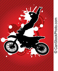 Motocross biker silhouette - Motorcycle and the biker...