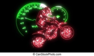 motocross, cavalcade, cavalier, vélo, laser, animation
