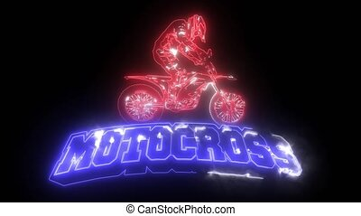 motocross, cavalier, laser, cavalcade, vélo, animation