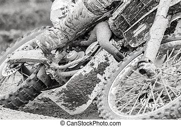 Closeup of a motocross bike