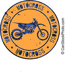 Motocross club icon stamp print design logo