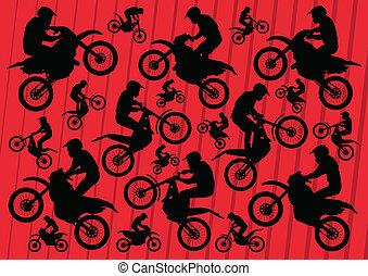 motocross, collection, motos, procès, illustration, cavaliers