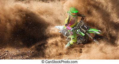 motocross, débris, extrême, poussière, motorsport, terre