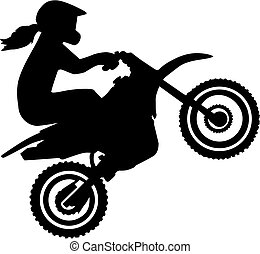 Motocross driver woman silhouette